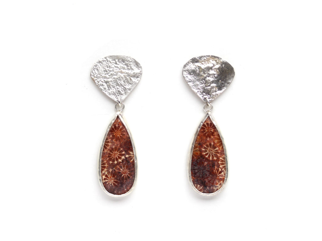 Fossilized Coral Earrings : archive