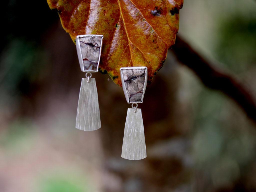 Mushroom Jasper Clip Earrings : archive