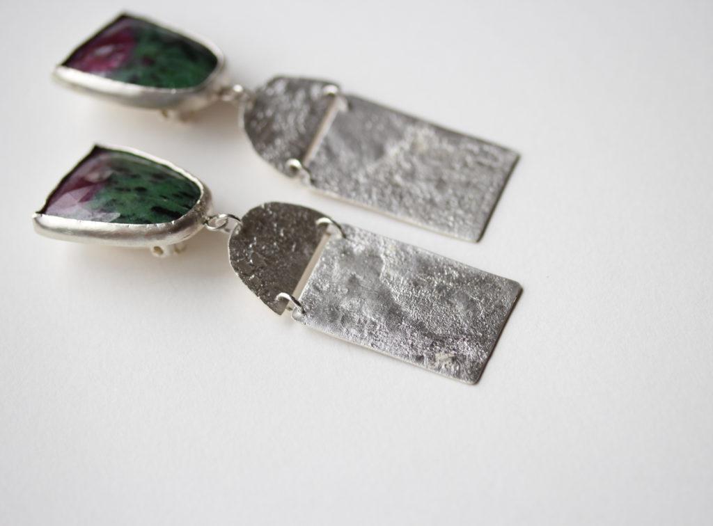 Ruby In Zoisite Clip Earrings : archive
