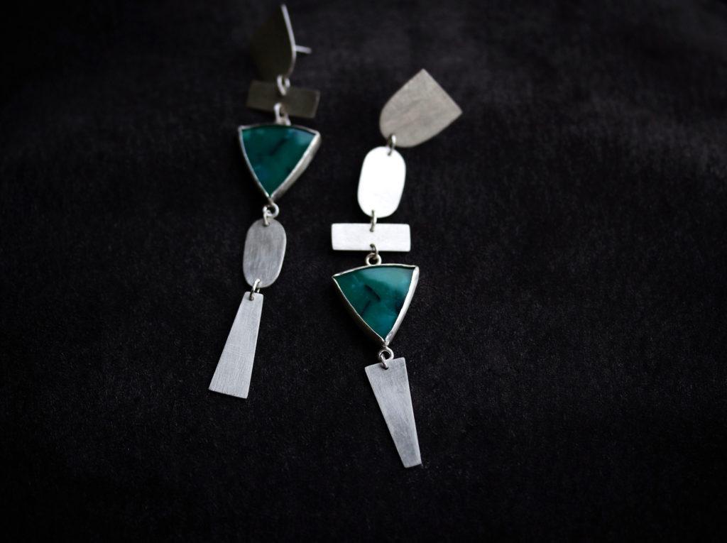 Asymmetric Opalized Wood Earrings : archive