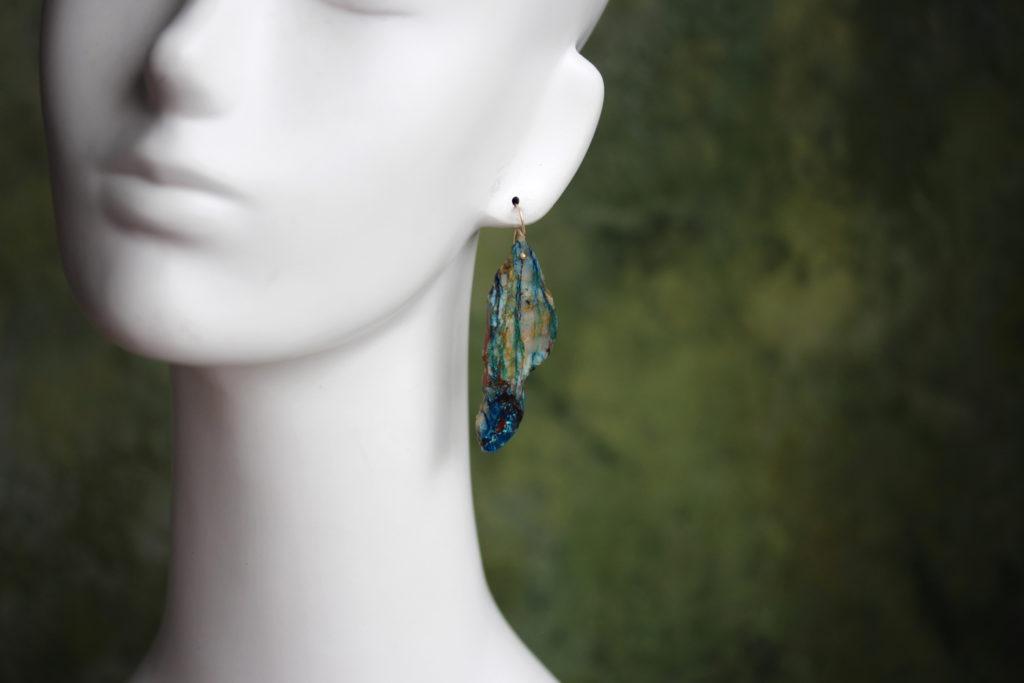 Chrysocolla 14K Gold Earrings #1