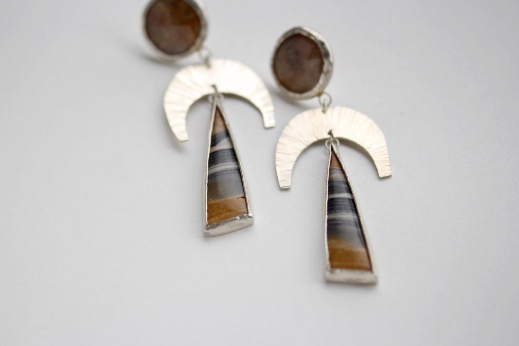 Sapphire & Petrified Wood Earrings : archive